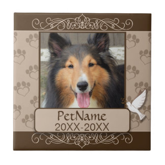 Brown Calligraph Swirls Custom Pet Sympathy Tile