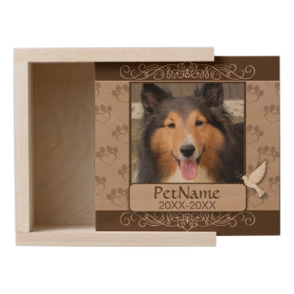 Brown Calligraph Swirls Custom Pet Sympathy Wooden Keepsake Box