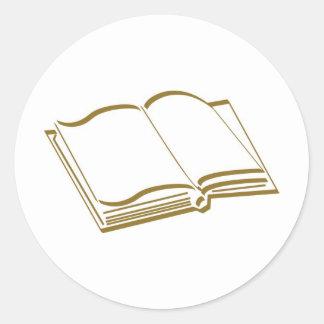 Brown Calligraphic Line Blank Book Classic Round Sticker