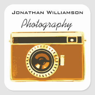 Brown Camera Photography Business Square Sticker