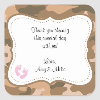 Brown Camo Baby Shower Favor Label w/pink feet