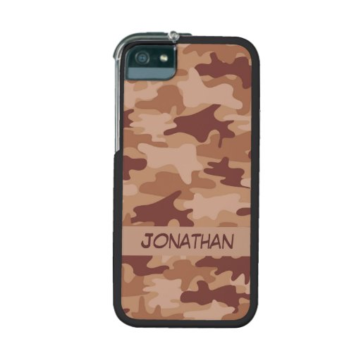 Brown Camo Camouflage Name Personalized iPhone 5/5S Cover