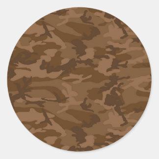 Brown Camo Classic Round Sticker