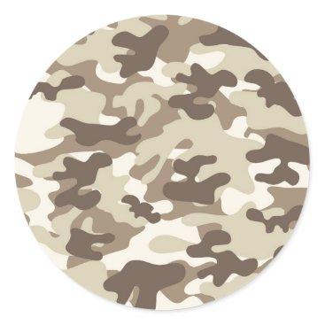 Brown Camo Design Classic Round Sticker