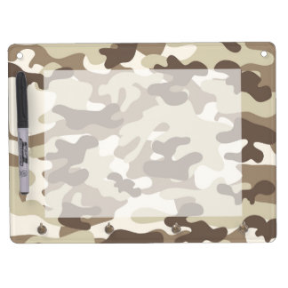 Brown Camo Design Dry Erase Board With Keychain Holder