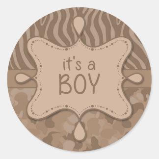 Brown Camo It's a Boy Sticker