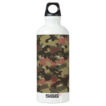 Brown Camo Texture Aluminum Water Bottle
