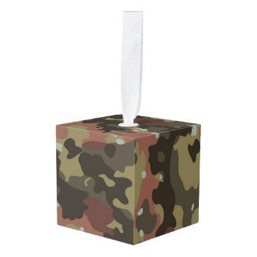 Brown Camo Texture Cube Ornament