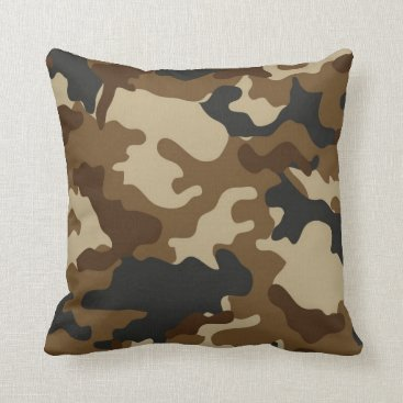 Brown Camo Throw Pillow