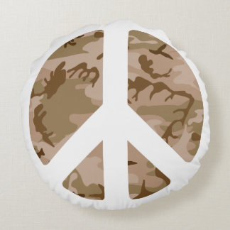 BROWN CAMOUFLAGE AND PEACE SIGN Round Throw Pillow