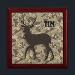 "Brown Camouflage Deer Keepsake Box<br><div class=""desc"">This beautiful keepsake box features a dark brown silhouette of a beautiful deer on a multicolored brown camouflage background. This is the perfect gift for that special someone that loves camouflage or hunting. The text can be customized for your recipient,  or for yourself!</div>"