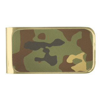 Brown Camouflage Gold Finish Money Clip