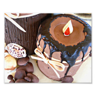 Brown candle chocolate cake with pebbles photo print