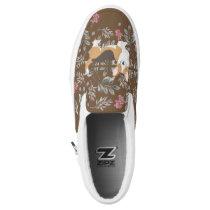 Brown Cardigan Welsh Corgi with Flower Field Slip-On Sneakers