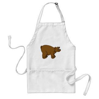 Brown Cartoon Bear Adult Apron