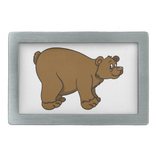 Brown Cartoon Bear Rectangular Belt Buckle