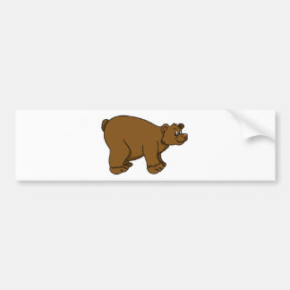 Brown Cartoon Bear Bumper Sticker