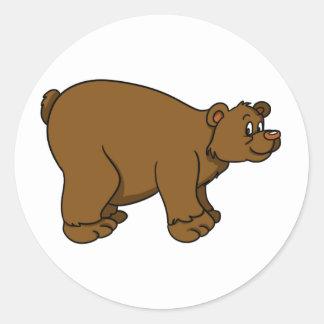 Brown Cartoon Bear Classic Round Sticker