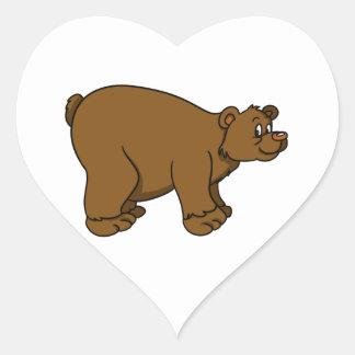 Brown Cartoon Bear Heart Sticker