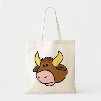 Brown cartoon bull face budget tote bag
