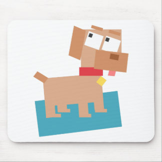 Brown Cartoon Dog w/ Red Collar Made from Squares Mouse Pads