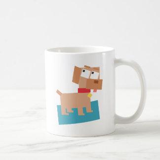 Brown Cartoon Dog w/ Red Collar Made from Squares Coffee Mug