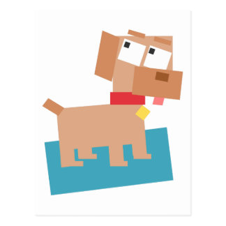 Brown Cartoon Dog w/ Red Collar Made from Squares Postcard
