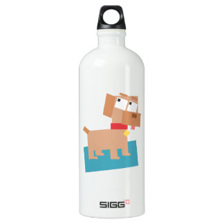 Brown Cartoon Dog w/ Red Collar Made from Squares Water Bottle