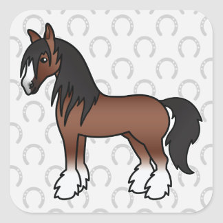 Brown Cartoon Gypsy Vanner Shire Clydesdale Horse Square Sticker