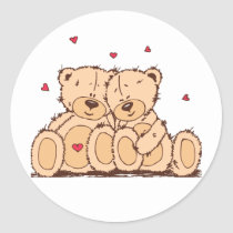 Brown Cartoon Teddy Bear Wedding Love Classic Round Sticker