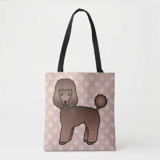 Brown Cartoon Toy Poodle Dog Breed Illustration Tote Bag