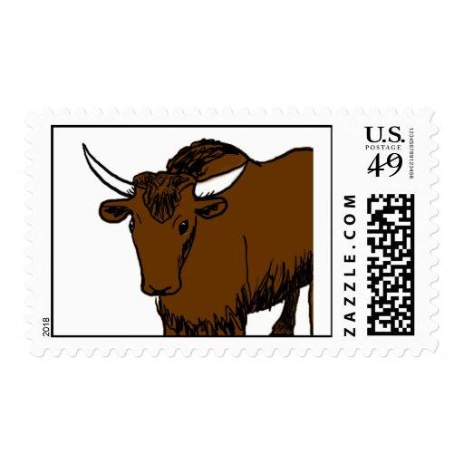Brown Cartoon Yak Stamps