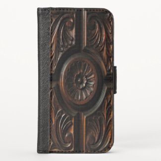 Brown Carved Wood Image iPhone X Wallet Case