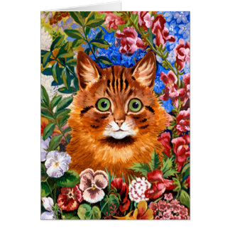 Brown Cat Amongst The Flowers Card