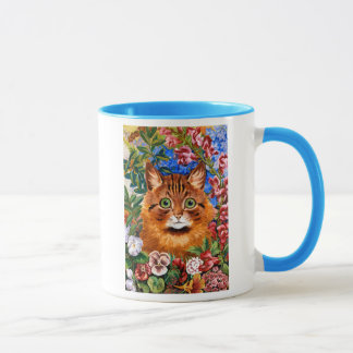 Brown Cat Amongst The Flowers Gift Mug
