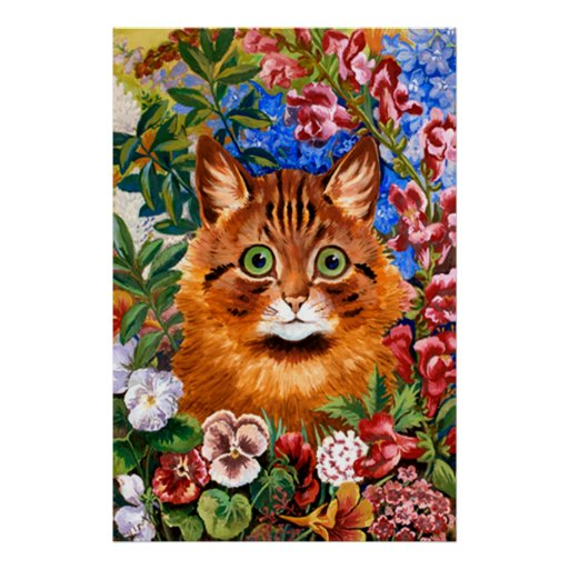 Brown Cat Amongst The Flowers Poster Print