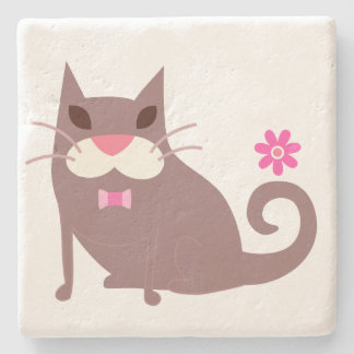 Brown Cat and Pink Bow Tie Stone Beverage Coaster