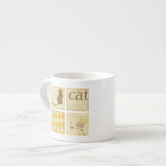 Brown Cat and  Yellow Bird by Chariklia Zarris Espresso Cup
