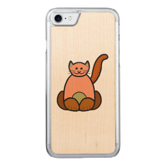 Brown cat cartoon carved iPhone 7 case