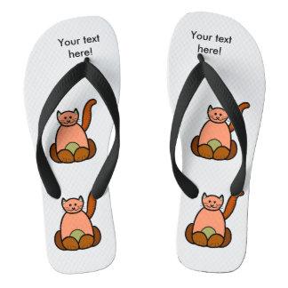 Brown cat cartoon flip flops