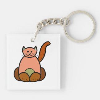 Brown cat cartoon keychain