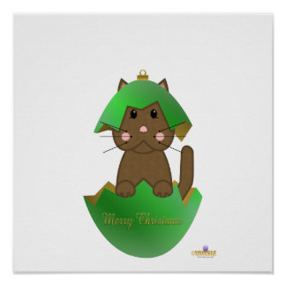 Brown Cat Green Christmas Ornament Merry Christmas Print