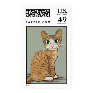 Brown Cat Illustration Postage