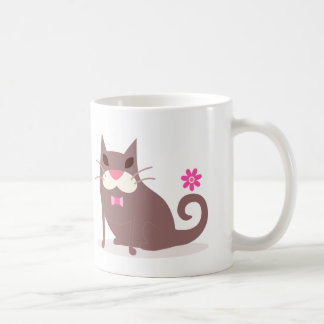 Brown Cat in Bow Tie with Flower Coffee Mug