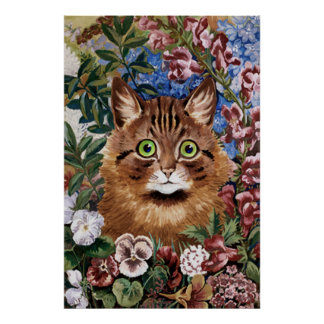 Brown Cat in The Garden Poster Print