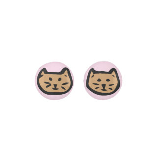 Brown Cat On Light Pink Background Earrings