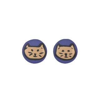 Brown Cat On Navy Blue Background Earrings