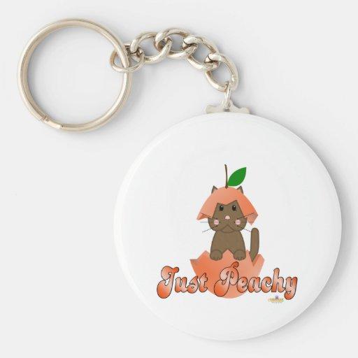 Brown Cat Peach Just Peachy Basic Round Button Keychain