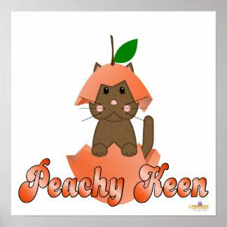 Brown Cat Peach Peachy Keen Poster