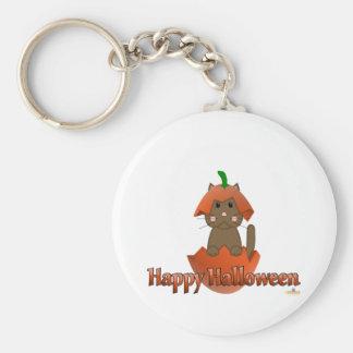 Brown Cat Pumpkin Happy Halloween Keychain